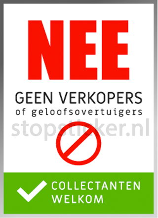 Geen verkopers, wel collectanten sticker