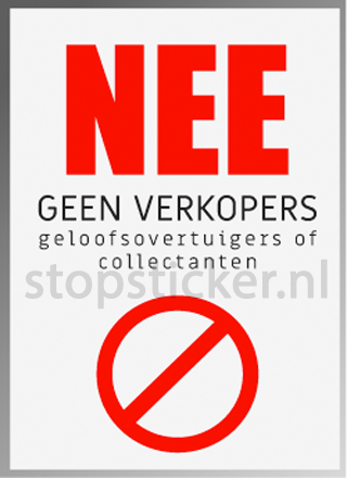 Geen verkopers of collectanten sticker