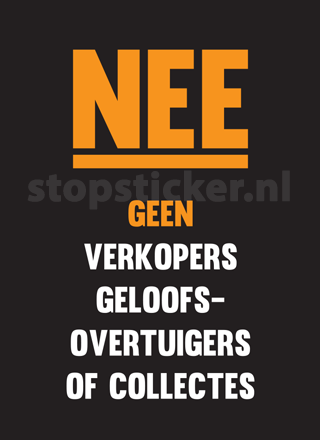 Geen Colportage Of Collectanten Sticker Zwart
