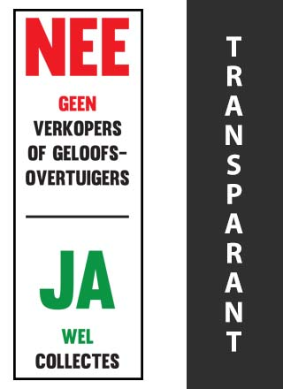 Geen colportage wel collectanten sticker transparant
