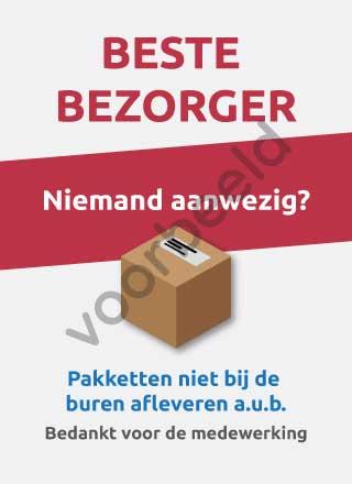 Pakketten niet bij de buren afleveren sticker